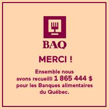 La SAQ remet un montant record de plus de 2,8 M$ à Banques alimentaires du Québec (BAQ) depuis le début de la pandémie de la COVID-19.